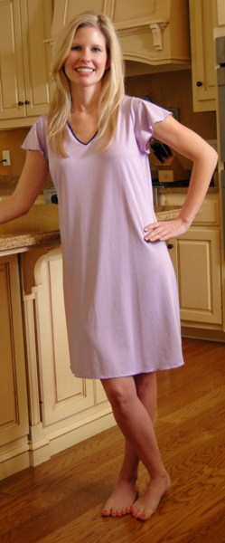 Ladies Cap Sleeved Knee Length American Made Gown
