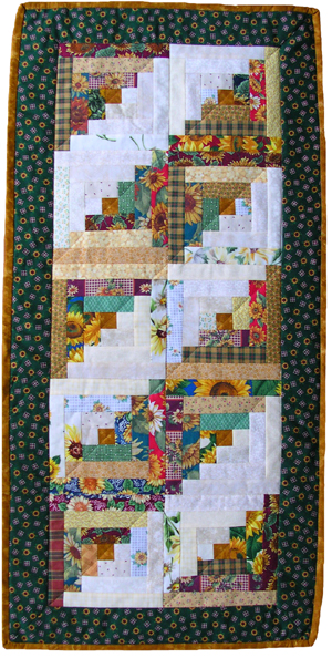 Log Cabin Sunflower Quilted Table Runner American Made