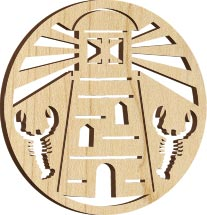 Maple Landmark Ornament - Natural - Lighthouse