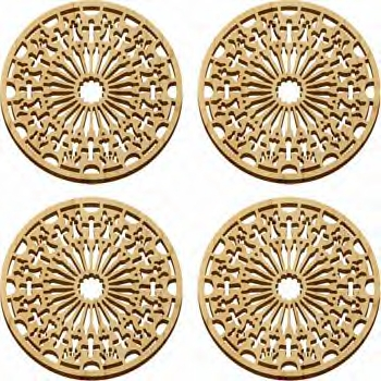 Maple Landmark 4 Pc. Coaster Set - Natural - Cathedral - American Made