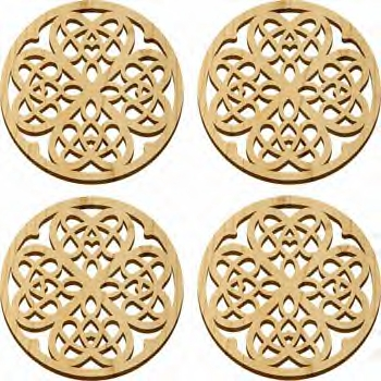 Maple Landmark 4 Pc. Coaster Set - Natural - Hearts - American Made