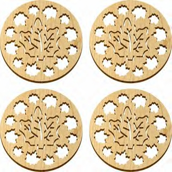 4 Pc. Coaster Set - Natural - Maple Leaves