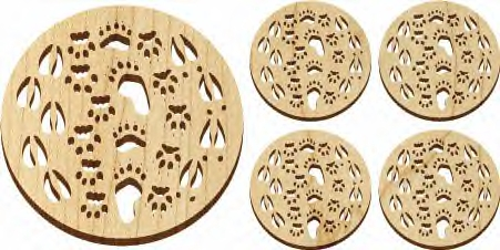 Maple Landkmark 5 Pc. Trivet and Coasters Gift Set - Natural  Tracks  American Made