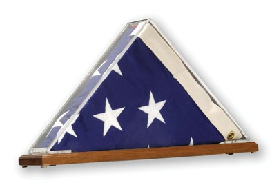 "Clear/Acrylic Internment Case 12"" x 18"" Richly-Stained Base Flag Case - American Made"