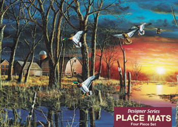 "Designer Placemats-""Autumn Visitors"" Mallards 4 pc. Gift Set - 12.5"" x 19"""