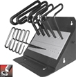 Eklind&#174 Standard Grip Hex T-Key Set, 6 inch Series, 10 keys: 3/32 to 3/8 Inch & Stand Made in America
