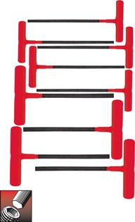 Eklind&#174 Power-T&#8482 T-Handle Hex Key Set, 6 inch Series, 9 keys: 5/64 to 1/4 Inch & Pouch