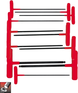 Eklind&#174 Power-T&#8482 T-Handle Ball-Hex Key Set, 9 inch Series, 11 keys: 5/64 to 3/8 Inch & Pouch