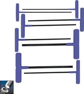 Eklind&#174 Power-T&#8482 T-Handle Hex Key Set, 9 inch Series, 8 keys: 2 to 10 MM & Pouch