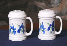 Handpainted Iris Handled Salt and Pepper Shaker Set American Made