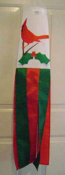 Christmas Cardinal Holly Windsock Made in USA