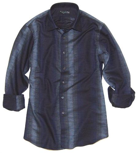 Scratchboard Ombre' Navy Shirt Made in America by Andrew David