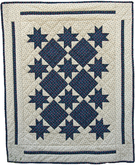 Linked Star Handmade Crib or Lap Quilt Navy Cream - American Made
