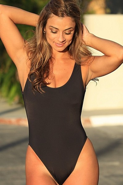 Black Double Dip Bathing Suit  - American Made