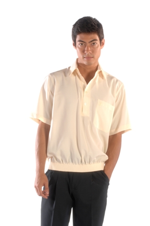 Solid Color Banded Bottom Shirt in Microfiber Polyester Made in America