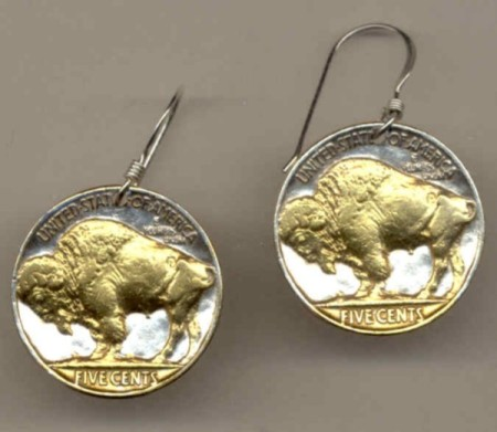 Buffalo nickel Earrings - Made in USA