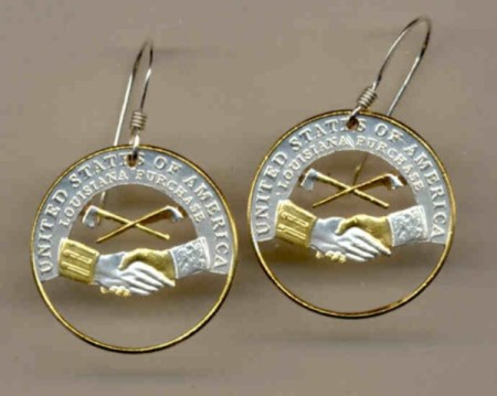 New Jefferson nickel (Peace Medal - 2004) Earrings - Made in USA