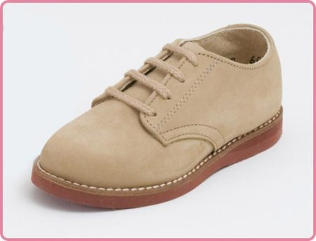 Children's Oxford Leather Shoe in Beige Nubuck Made in Ameria