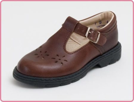 Children's T-Strap Leather Brown Shoe Made in USA