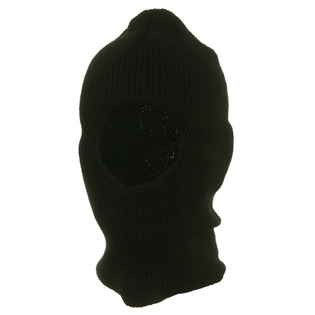 One Hole Rib Face Mask Made in USA - Black