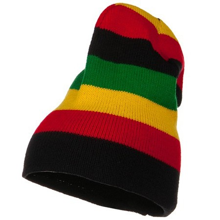 Stripe Knit Slouch Beanie - Multi American Made