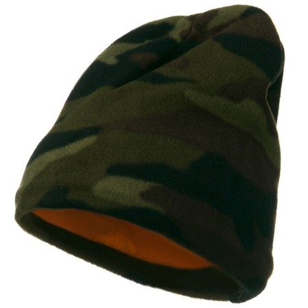 Reversible Camo Fleece Beanie Made in America - Green Camo