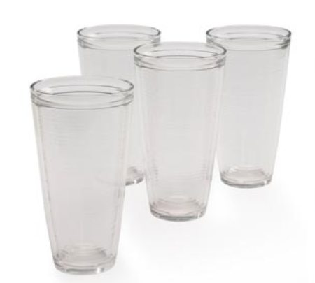 Set of 4 Clear Insulated American Made Tumblers - 22 oz