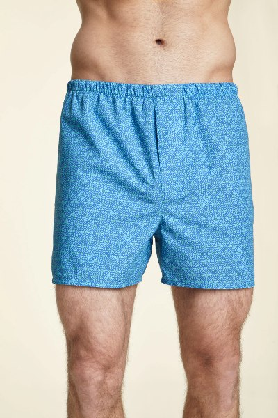 Lightweight Blue Chelsea Cotton Boxer Shorts Made in USA