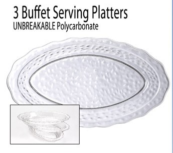 3 Buffet Seving Platters in Polycarbonate - American Made