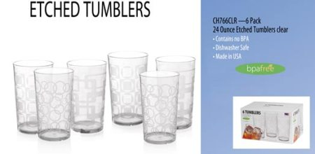 Set of 6 Clear Etched Tumblers Made in USA - 24 oz