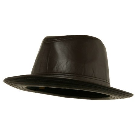 Men's Leather Bucket Hat Made in USA -Brown