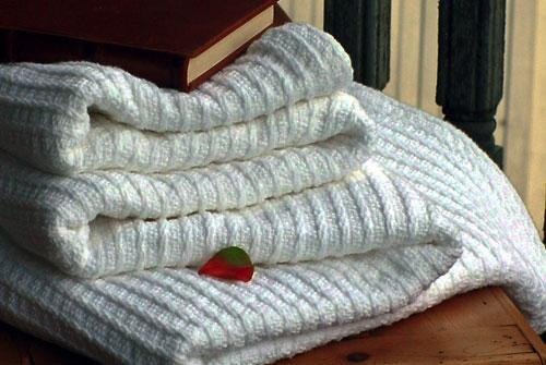 White Rib Cotton Blanket - Made in America