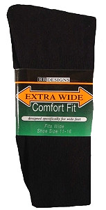 Men's Extra Wide Athletic Crew Socks Made in USA - 3 Pairs