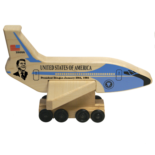 Air Force One President Reagan Wood Toy  American Made