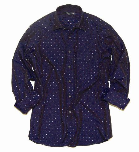 Navy Clip Dot Shirt Made in America by Andrew David