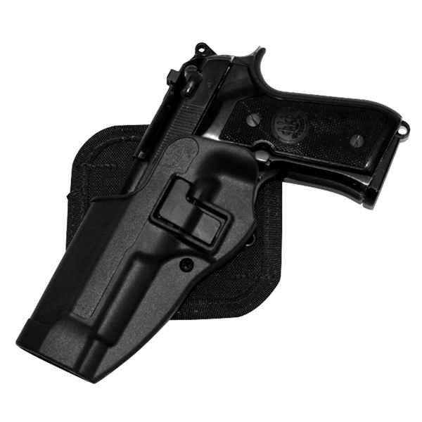 Blackhawk CF Holster w/BL & Paddle, Serpa, LH, Black, Ber. 92/96