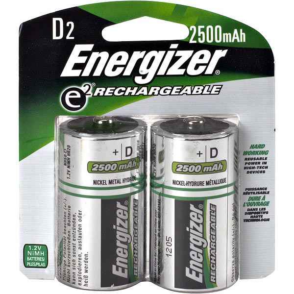 Energizer Rechargeable D, 2 Pack
