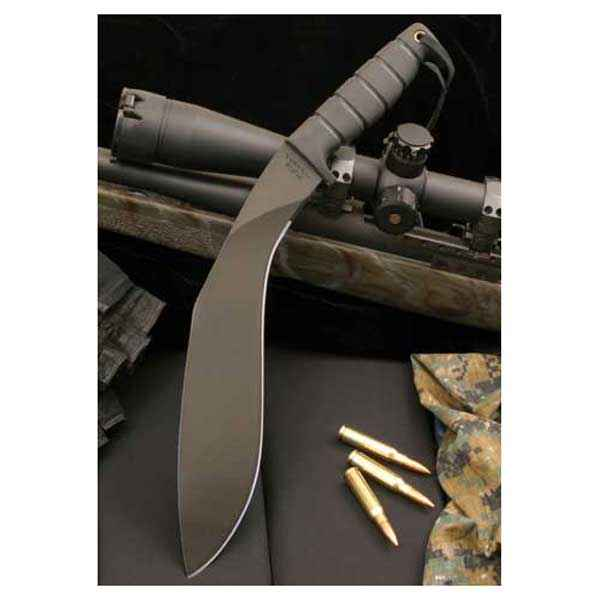 Ontario Kukri Machete, Kraton Handle, Black Blade, Plain