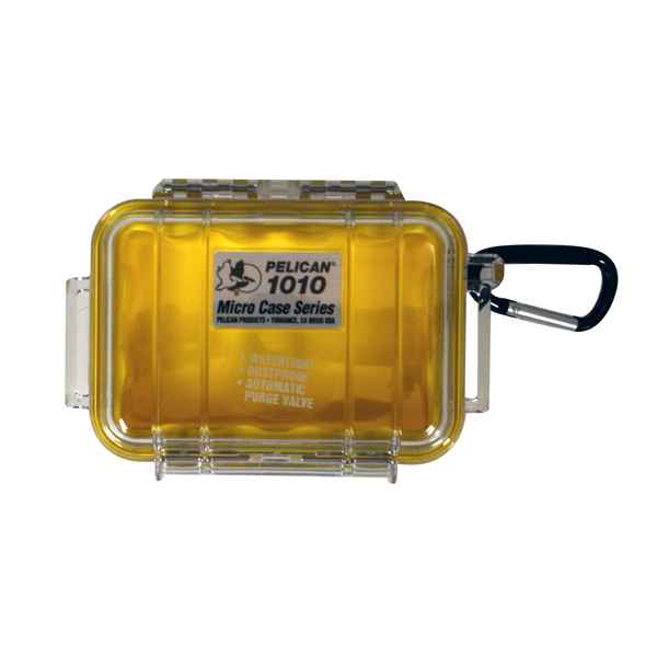 Pelican Products Micro Case Clear, Yellow, 5.44 x 4.06 x 2.13