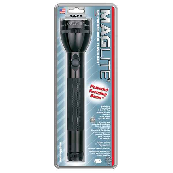 MagLite 3 C Cell Flashlight, Black