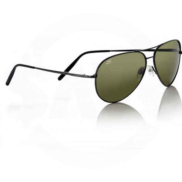 Serengeti Eyewear Medium Aviator, 555nm Polarized Lens, Shiny Gun Metal Frame