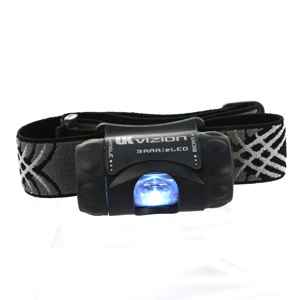 Underwater Kinetics UK Vizion eLED Headlamp, 3AAA, Black, Black/Silver Strap