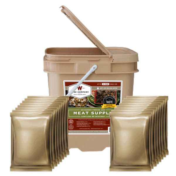 Wise Company 60 Serving Freeze Dried Meat Bucket & 20 Bonus Rice Serving