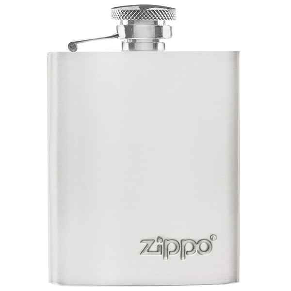 Zippo High Polish Stainless Steel Flask, Logo Emboss, 3oz.