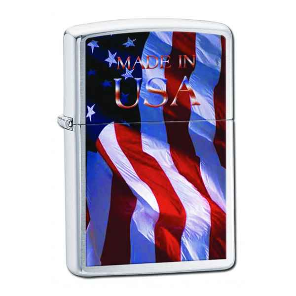 Zippo Brushed Chrome, Made in the USA Flag