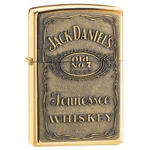 Zippo High Polish Brass, Jack Daniel's Label,
