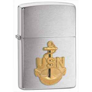 Zippo Brushed Chrome, Navy Anchor Emblem
