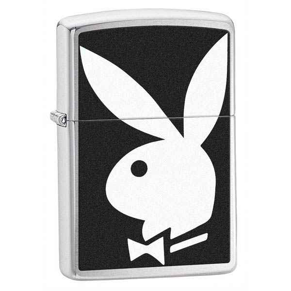 Zippo Brushed Chrome, Black & White Playboy Bunny