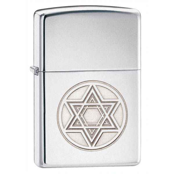 Zippo High Polish Chrome, Star of David