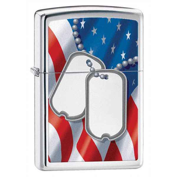 Zippo High Polish Chrome, Dog Tags w/US Flag